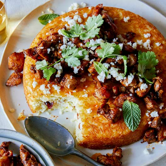 Spiced Chicken Topped Tachin
