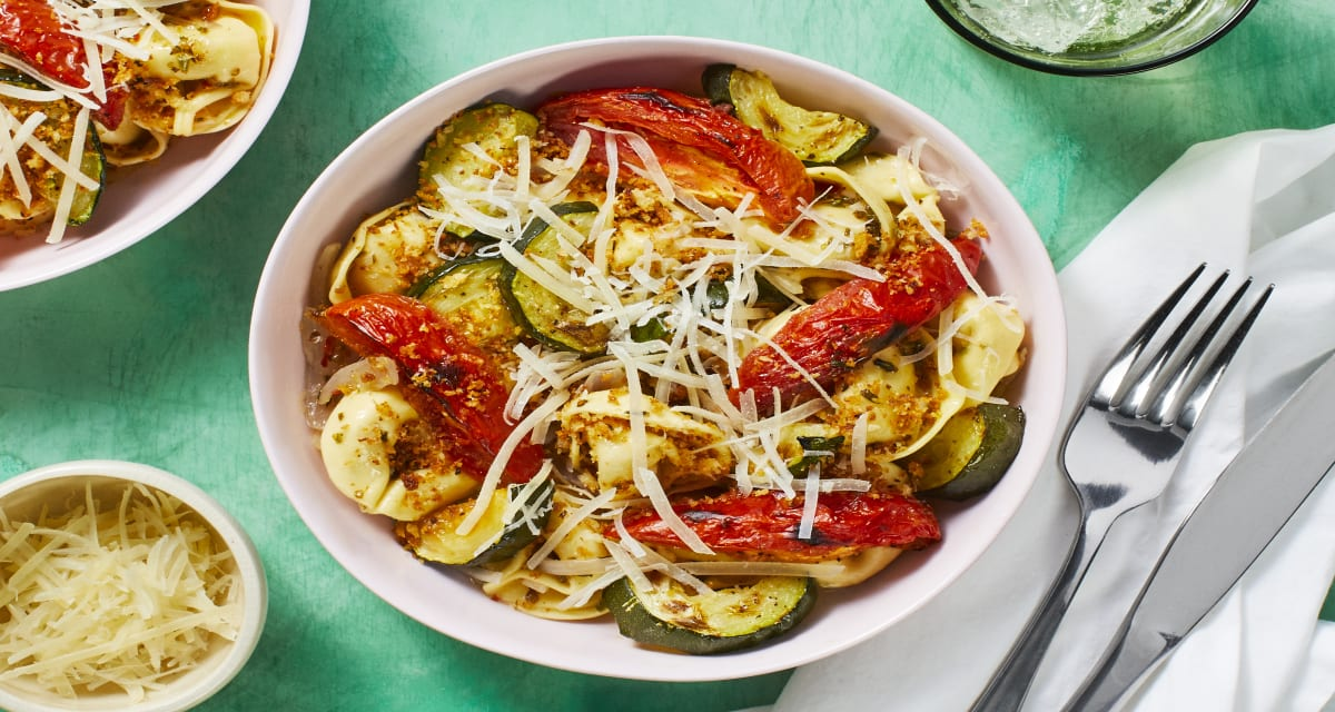 Garlic Herb Tortelloni with Roasted Tomato and Zucchini