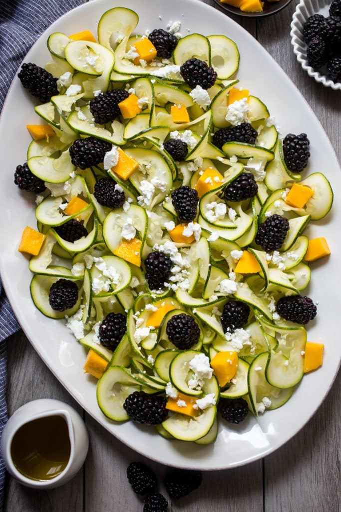 Zucchini Noodle, Blackberry and Mango Salad with Vanilla Bean Vinaigrette